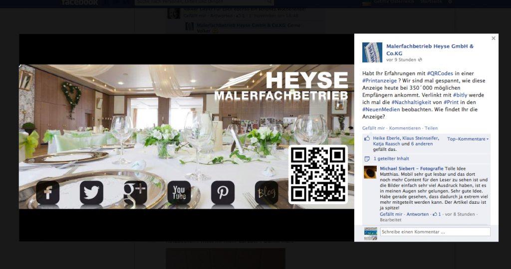 Mit dieser Anzeige verbindet Matthias Schultze von Maler Heyse Online,- und Offline Marketing.